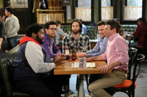 "UNDATEABLE -- ""A Live Show Walks Into A Bar"" Episode 209B -- Pictured: (l-r) Ron Funches as Shelly, Rick Glassman as Burski, Chris D'Elia as Danny, David Fynn as Brett, Brent Morin as Justin -- (Photo by: Darren Michaels/NBC/Warner Bros.)"